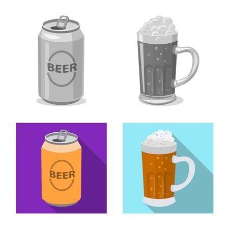 Vector illustration of pub and bar logo. Collection of pub and interior stock symbol for web. Ilustração