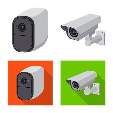 Vector illustration of cctv and camera logo. Collection of cctv and system stock symbol for web. Ilustrace