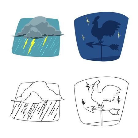 Vector illustration of weather and climate logo. Collection of weather and cloud stock vector illustration. Banco de Imagens - 124994937
