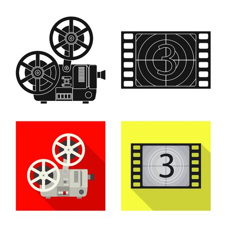 Vector illustration of television and filming logo. Collection of television and viewing stock vector illustration.