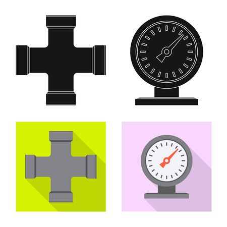 Isolated object of pipe and tube symbol. Set of pipe and pipeline vector icon for stock. Ilustracja