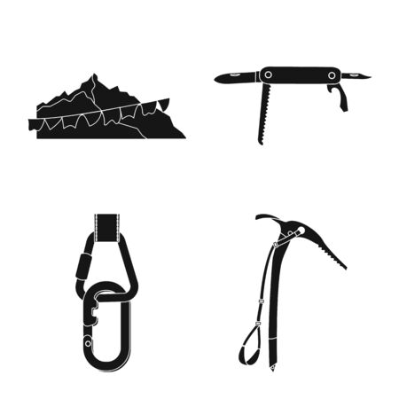 Isolated object of mountaineering and peak symbol. Set of mountaineering and camp stock symbol for web.  イラスト・ベクター素材