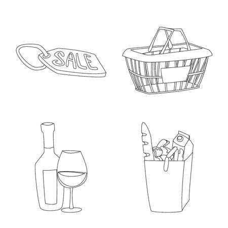 Vector design of food and drink symbol. Collection of food and store stock symbol for web. Illustration