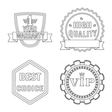 Vector design of emblem and badge symbol. Collection of emblem and sticker vector icon for stock.