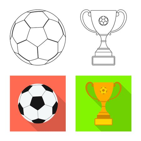 Vector illustration of soccer and gear icon. Collection of soccer and tournament stock symbol for web.