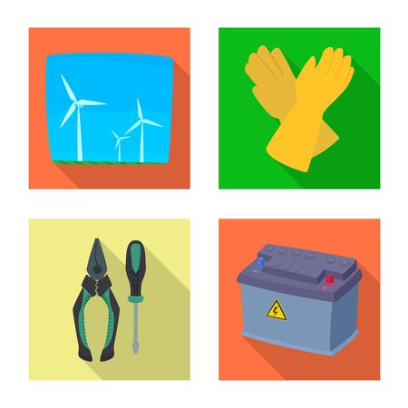 Vector illustration of electricity and electric logo. Set of electricity and energy stock vector illustration.