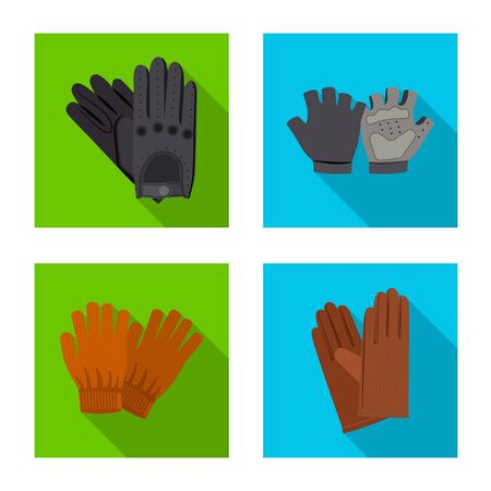 Isolated object of glove and winter symbol. Set of glove and equipment stock vector illustration.