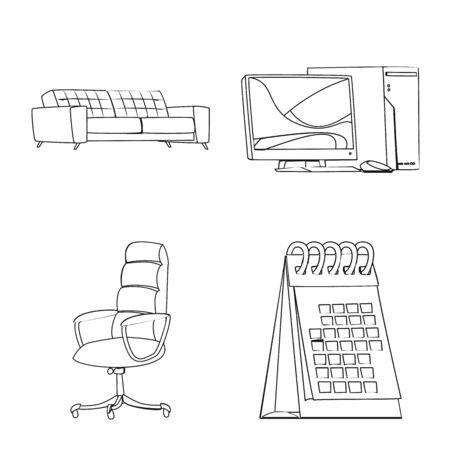 Vector illustration of furniture and work symbol. Set of furniture and home stock symbol for web. Ilustração