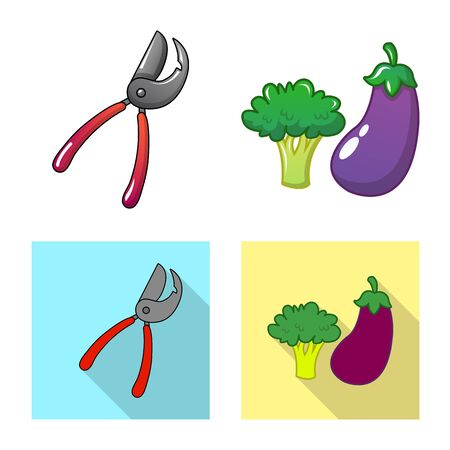 Vector design of farm and agriculture sign. Set of farm and plant stock symbol for web.