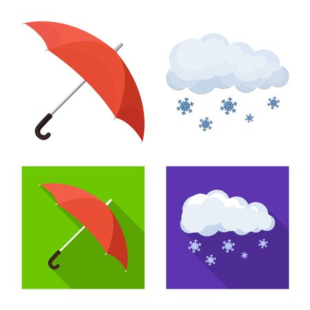 Vector design of weather and climate icon. Set of weather and cloud stock vector illustration. Banco de Imagens - 124995045