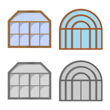 Vector design of door and front sign. Set of door and wooden stock vector illustration. Illustration