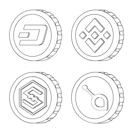 Vector design of cryptocurrency and coin sign. Set of cryptocurrency and crypto stock vector illustration.