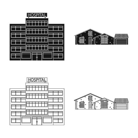 Vector design of building and front sign. Collection of building and roof stock vector illustration.  イラスト・ベクター素材