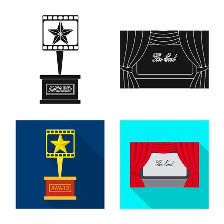 Vector illustration of television and filming sign. Collection of television and viewing stock symbol for web.