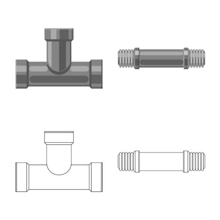 Vector design of pipe and tube icon. Set of pipe and pipeline stock symbol for web. Stok Fotoğraf - 124995166