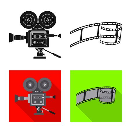 Isolated object of television and filming symbol. Set of television and viewing stock symbol for web. Illustration