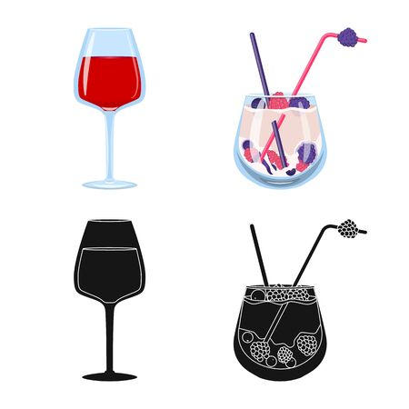 Isolated object of liquor and restaurant symbol. Collection of liquor and ingredient vector icon for stock.