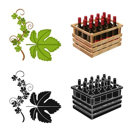 Vector design of farm and vineyard logo. Collection of farm and product stock symbol for web. Ilustração