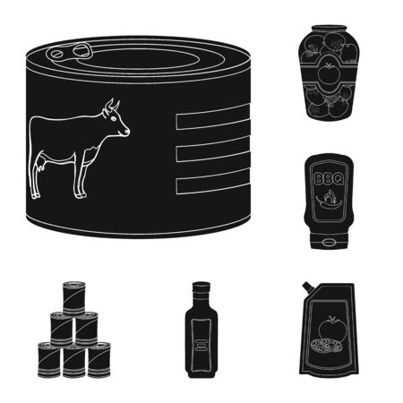Vector design of can and food symbol. Set of can and package vector icon for stock.