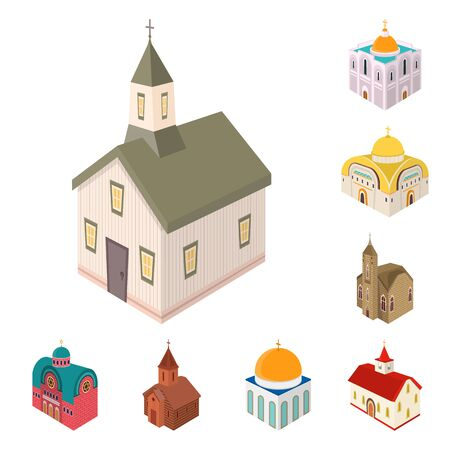 Vector design of architecture and building icon. Set of architecture and clergy stock vector illustration. Illustration