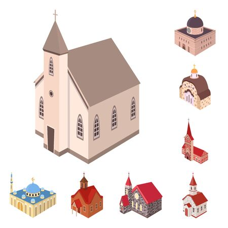 Vector design of architecture and building icon. Set of architecture and clergy stock vector illustration. 向量圖像