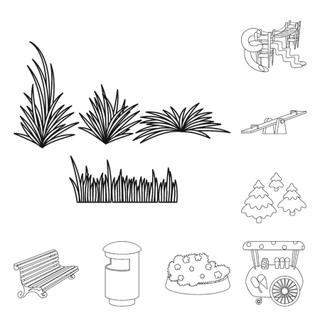 Vector design of landscape and nature logo. Collection of landscape and city stock symbol for web. Stockfoto - 124996976