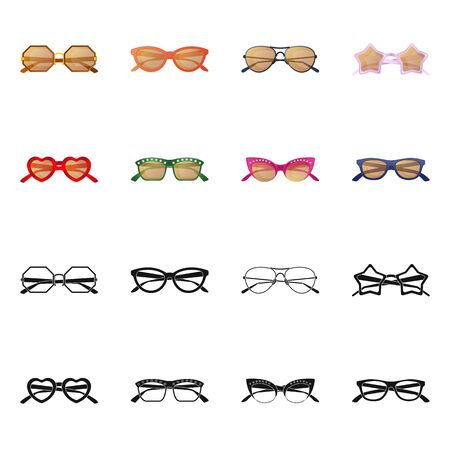 Isolated object of glasses and sunglasses sign. Collection of glasses and accessory stock symbol for web.