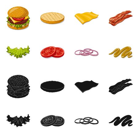 Vector design of burger and sandwich sign. Set of burger and slice stock vector illustration. Фото со стока - 124996981