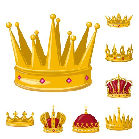 Isolated object of monarchy and gold sign. Collection of monarchy and heraldic vector icon for stock. Иллюстрация