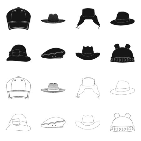 Vector design of headgear and cap logo. Set of headgear and accessory stock symbol for web. Иллюстрация