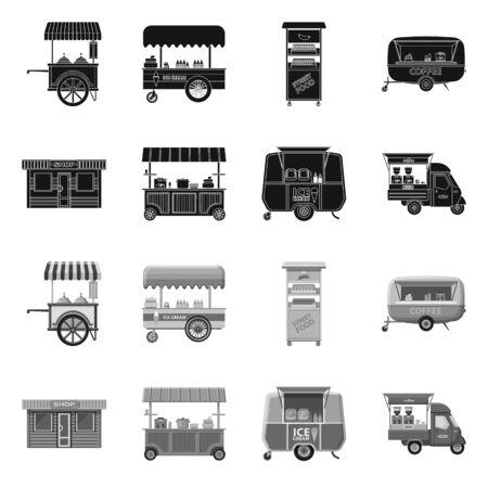 Objeto aislado de mercado y símbolo exterior. Colección de icono de vector de mercado y alimentos para stock.