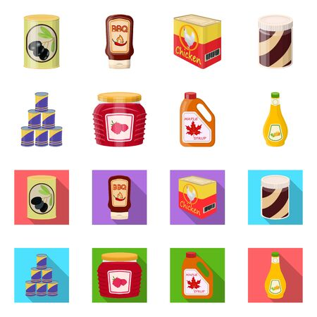 Vector illustration of can and food sign. Set of can and package stock symbol for web. Zdjęcie Seryjne - 124996991