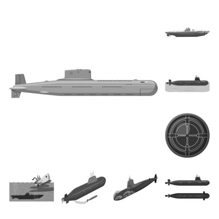 Isolated object of army and deep icon. Set of army and nuclear vector icon for stock.