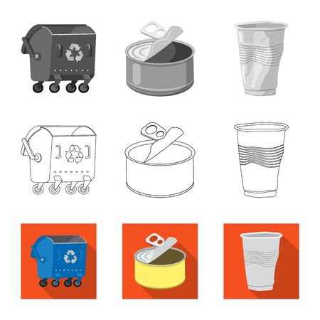 Vector design of dump and sort logo. Collection of dump and junk stock symbol for web.