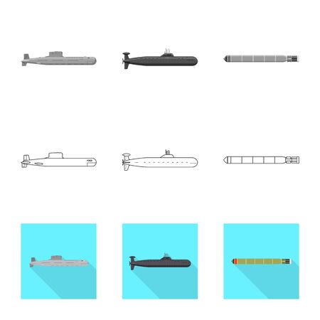 Vector design of war and ship logo. Set of war and fleet vector icon for stock.