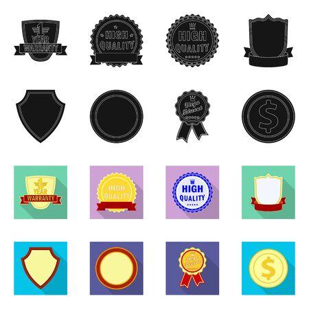 Vector design of emblem and badge logo. Collection of emblem and sticker stock symbol for web. Illustration