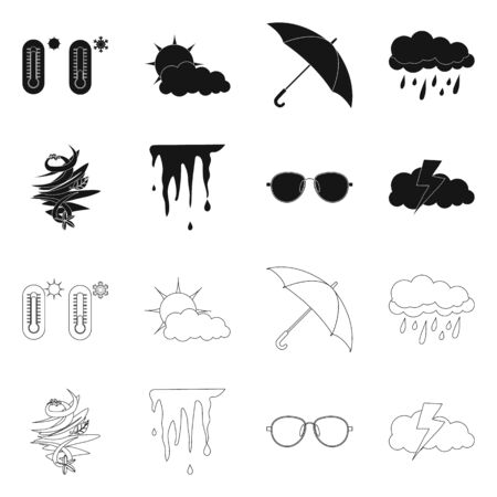 Vector illustration of weather and climate icon. Collection of weather and cloud stock symbol for web. Zdjęcie Seryjne - 124997014