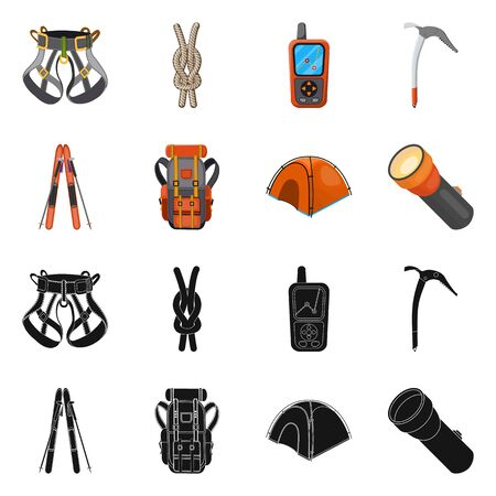 Isolated object of mountaineering and peak icon. Collection of mountaineering and camp stock symbol for web. Ilustracja