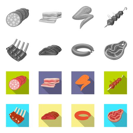 Vector design of meat and ham sign. Collection of meat and cooking vector icon for stock. Zdjęcie Seryjne - 124997018