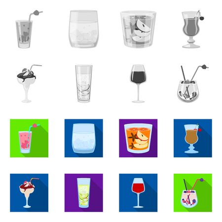 Isolated object of liquor and restaurant icon. Set of liquor and ingredient stock vector illustration.