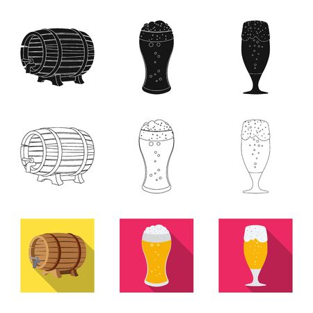 Vector design of pub and bar symbol. Set of pub and interior stock vector illustration. 일러스트