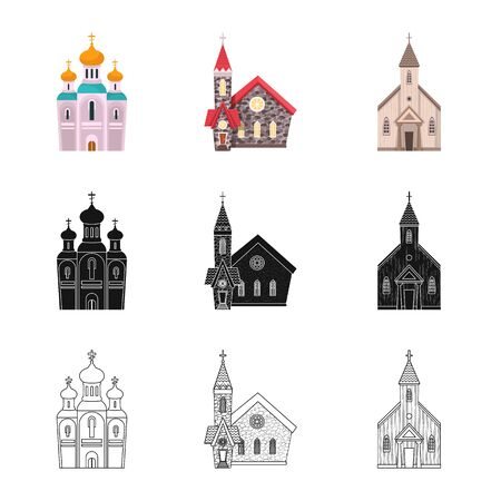 Vector illustration of cult and temple icon. Collection of cult and parish stock symbol for web. 일러스트