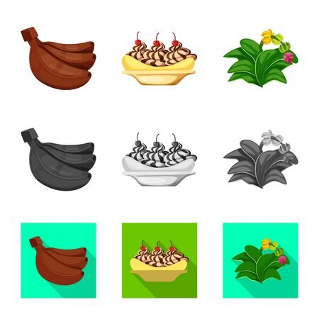 Vector design of natural and vegetarian symbol. Collection of natural and eating vector icon for stock. Ilustração