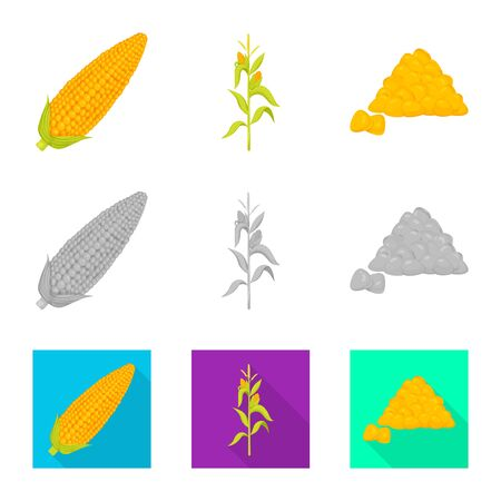 Vector illustration of cornfield and vegetable symbol. Set of cornfield and vegetarian stock vector illustration.
