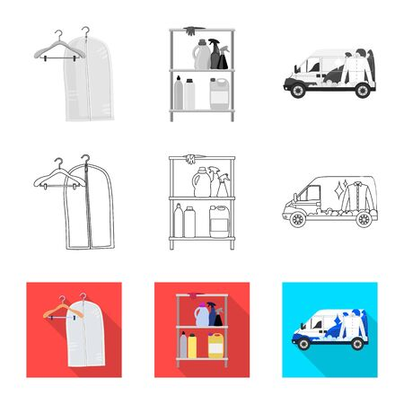 Vector design of laundry and clean sign. Set of laundry and clothes stock vector illustration. Ilustração
