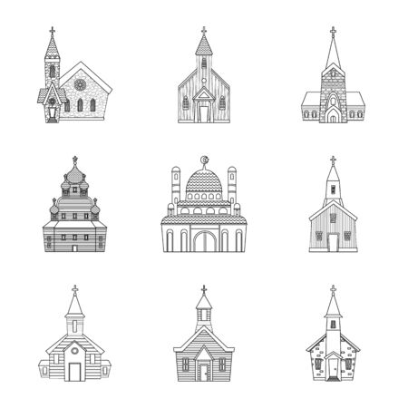 Vector illustration of architecture and faith symbol. Collection of architecture and temple stock symbol for web.