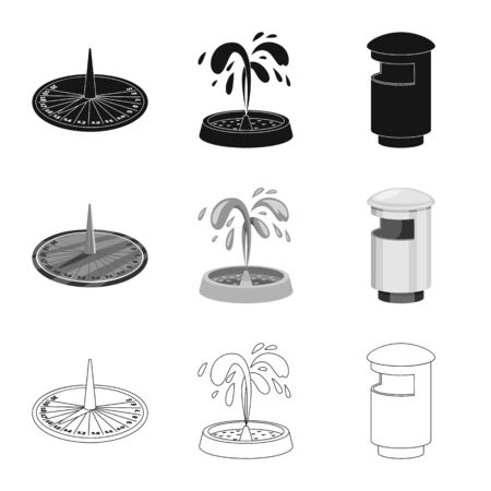 Vector illustration of urban and street symbol. Collection of urban and relaxation stock vector illustration. Banco de Imagens - 124997086