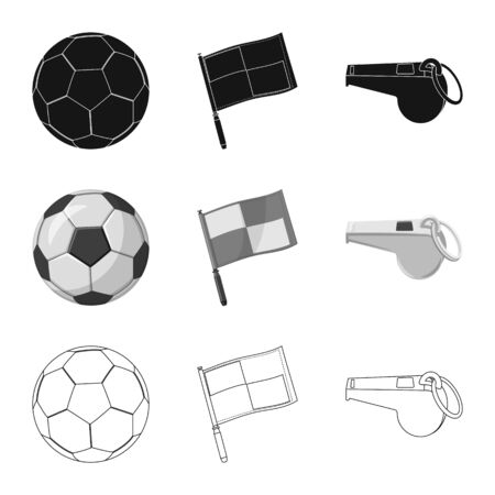 Vector illustration of soccer and gear icon. Set of soccer and tournament vector icon for stock. Illustration