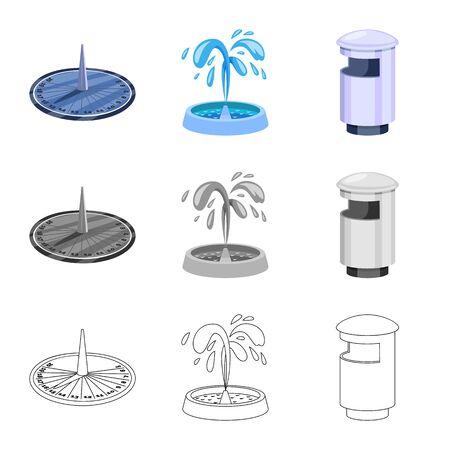 Conception vectorielle du symbole urbain et de la rue. Collection d'icônes vectorielles urbaines et de détente pour le stock.