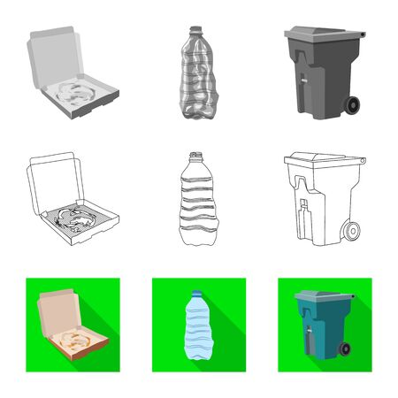 Isolated object of dump and sort sign. Collection of dump and junk stock vector illustration. Illustration